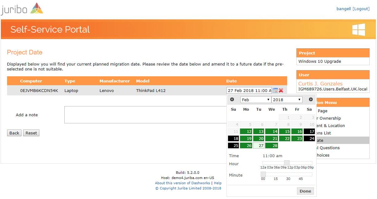 Self-Service Portal Self Scheduling